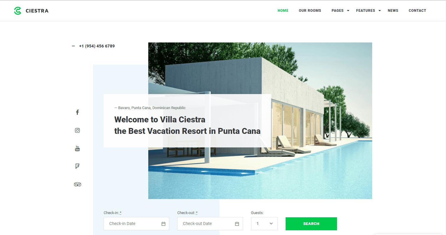 Сайт гостиницы Ciestra