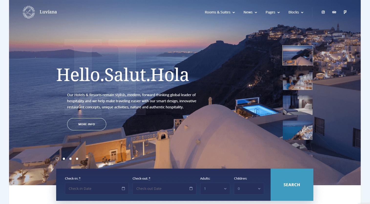 Сайт отеля Luviana