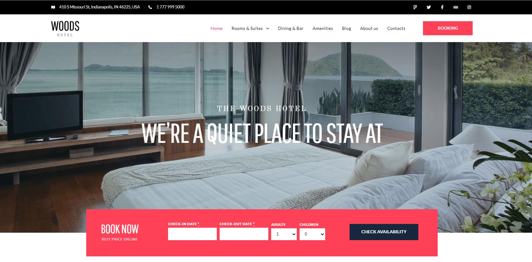 Сайт отеля WOODS